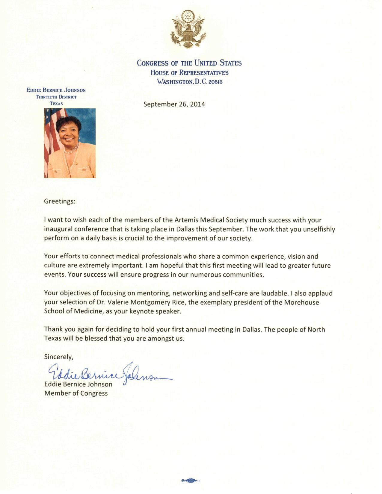 Ams 2014 artemis medical society welcome letter from congresswoman eddie bernice johnson m4hsunfo