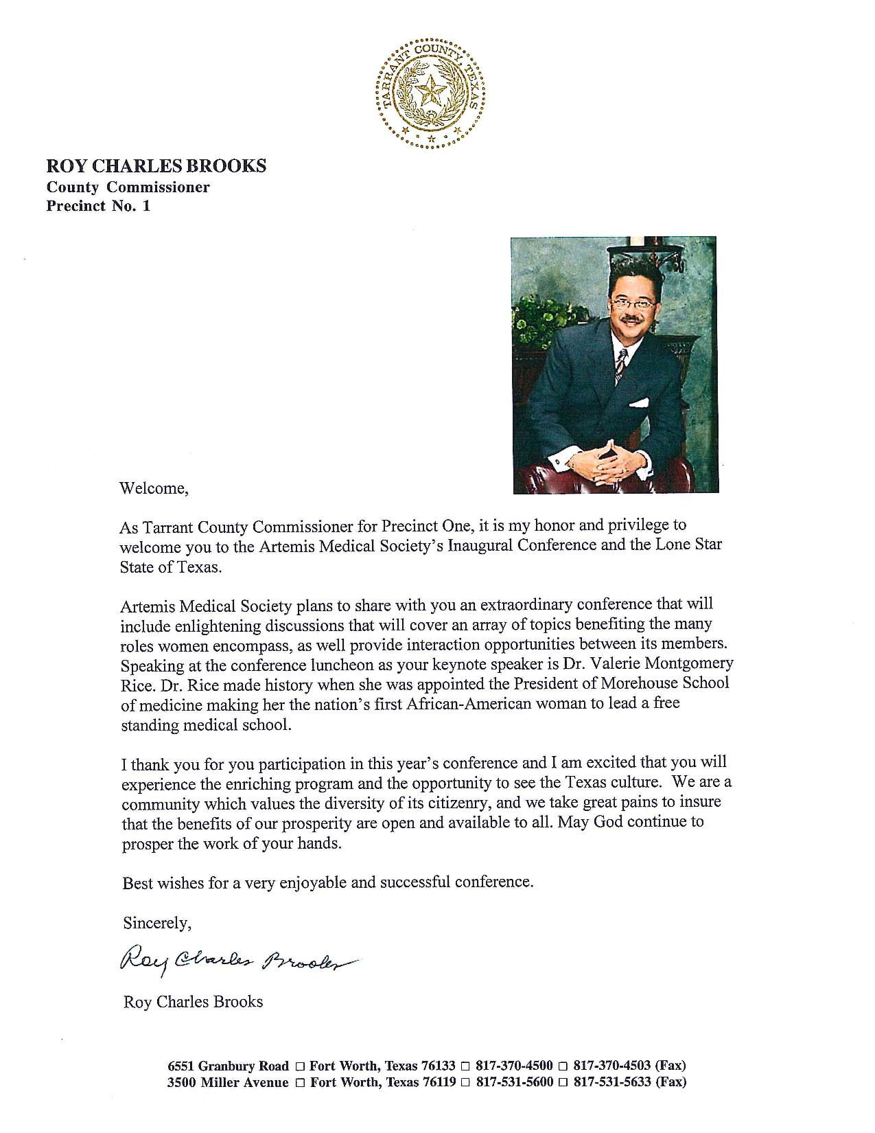 Welcome Letter From Tarrant County Commissioner Roy Charles Brooks – Welcome Letter