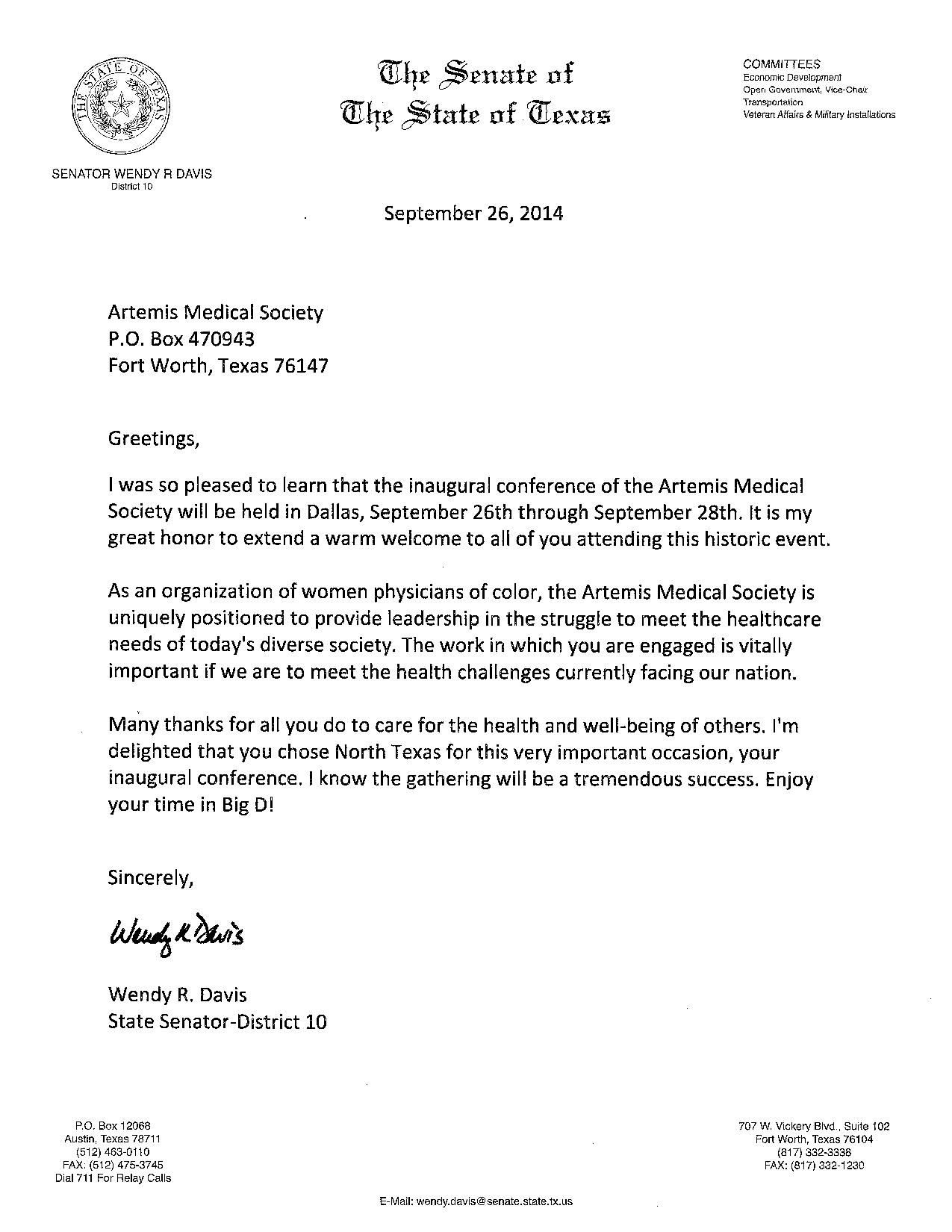 Welcome Letter From Texas State Senator Wendy Davis